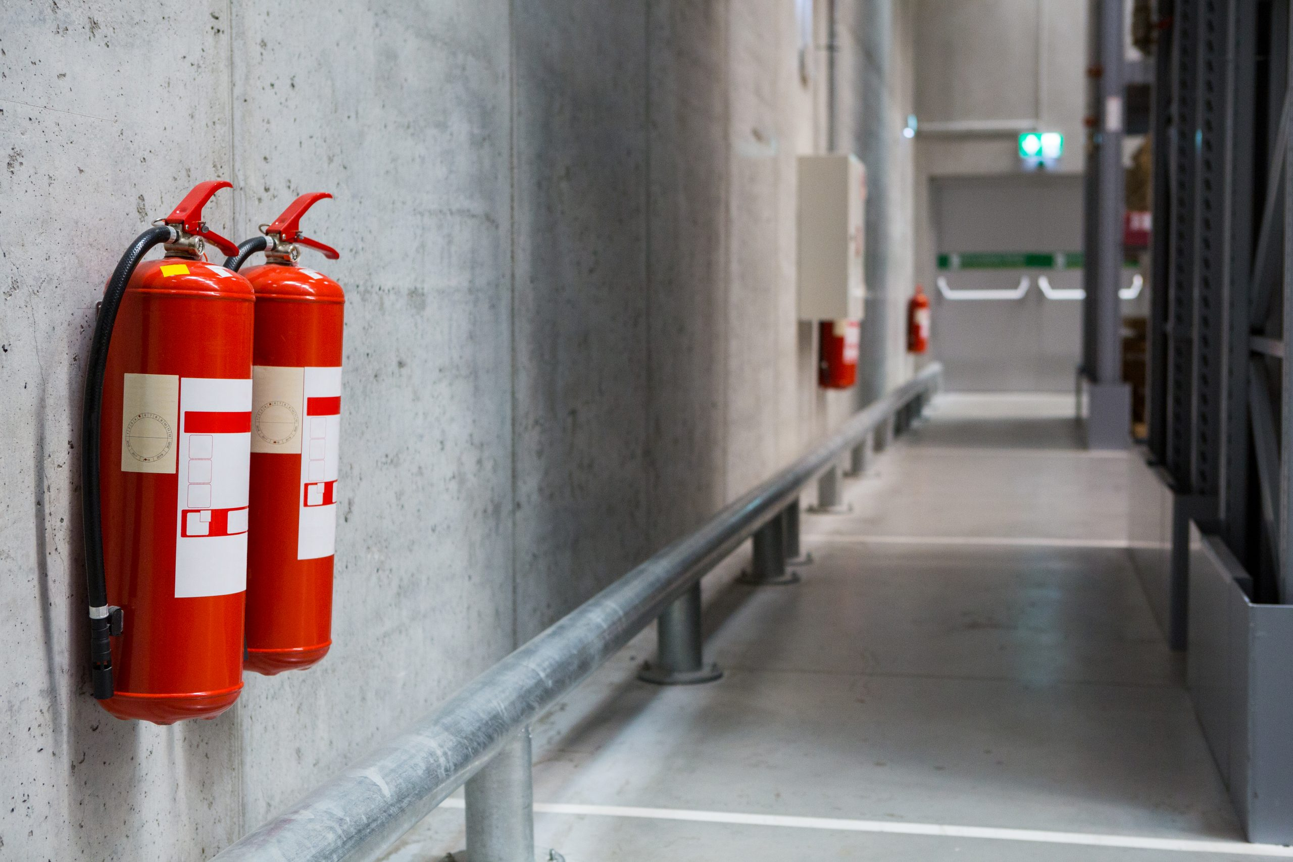 Fire extinguishers in the warehouse.